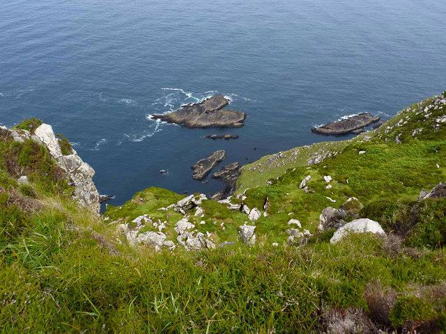 Great Blasket Island: Looking down the cliff, Great Blasket  - © Eileen Henderson