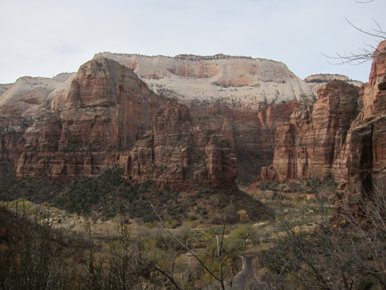 "Observation Point and Hidden Canyon: Angel""s Landing from Obs Point Trail - © William Mackesy"