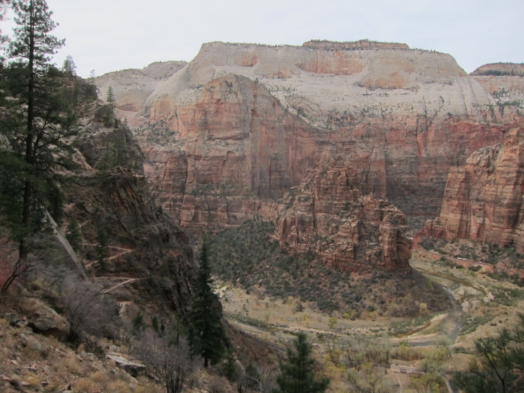 "Observation Point and Hidden Canyon: Hidden Canyon Junction, Angel""s Landing across the main canyon - © William Mackesy"