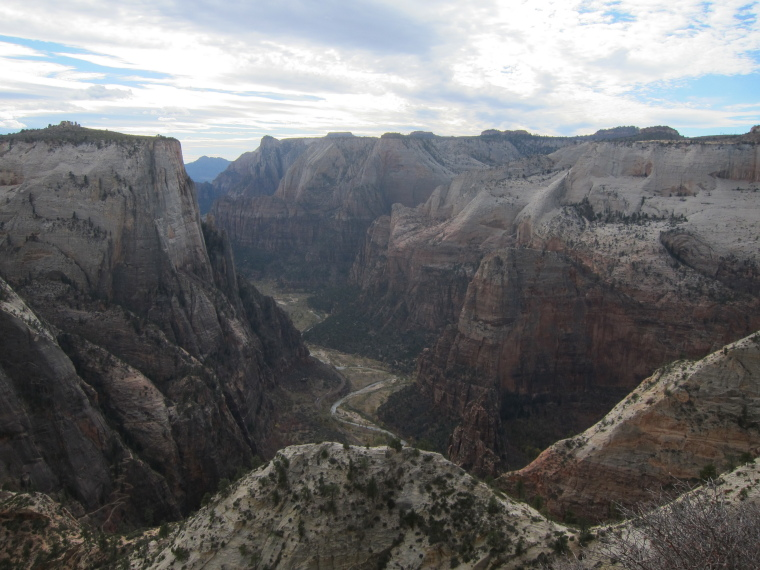 "Observation Point and Hidden Canyon: Zion canyon and Angel""s Landing (R) from Obs Point Trail - © William Mackesy"
