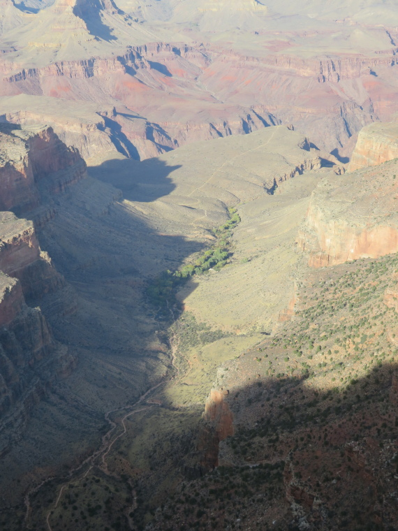 USA SW: Grand Canyon, Rim Trails, Garden Creek canyon, Bright Angel, from S Rim, Walkopedia