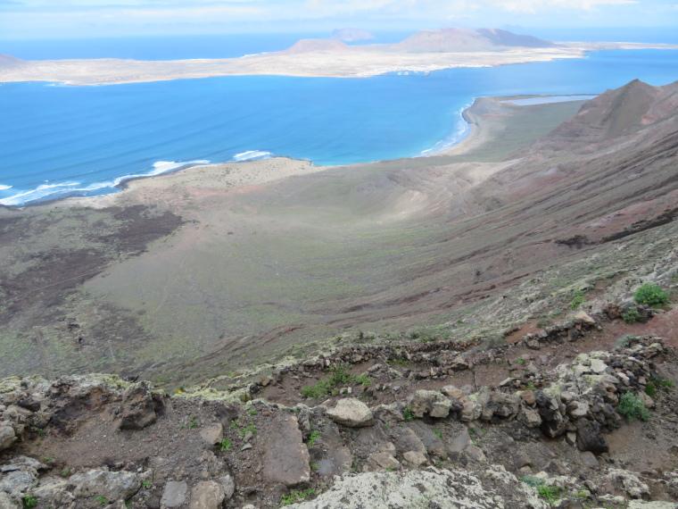 Spain Canary Islands: Lanzarote, Isla Graciosa , La Graciosa from the Risco Cliffs track, Walkopedia