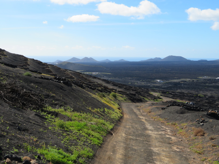 Spain Canary Islands: Lanzarote, La Geria; Montana Tinasoria , Back down the track, Walkopedia