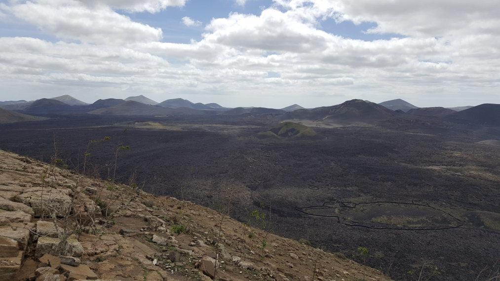 Spain Canary Islands: Lanzarote, Caldera Blanca , 2018 Towards Timanfaya from caldera rim, Walkopedia