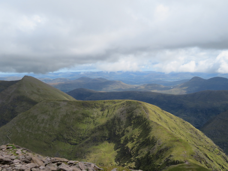 Ireland's SW Peninsulas: Reeks, Cnoc na Tionne and Cnoc an Chuillin from Carrauntoohil summit