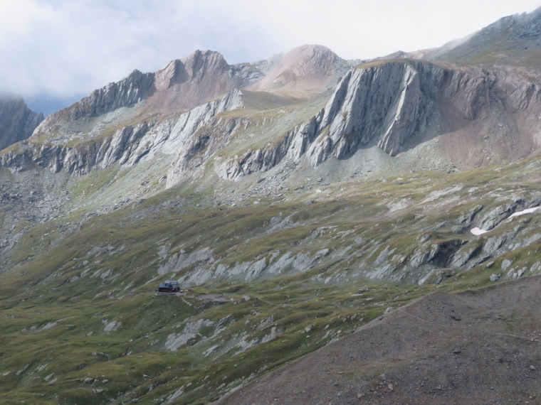 Austria Hohe Tauern, Granatspitze Ridge, Sudetendeutcher Hut from high Durrenfeld  pass, Walkopedia