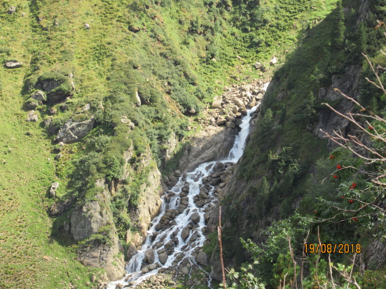 "Above Nurenberger Hut; Mairspitze, Wilder Freiger: B""suchalm waterfall, Langental valley - © William Mackesy"