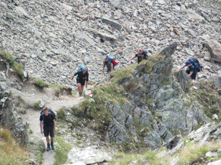 Group coming out of klettersteig ascent to Marspitse from Sulzenau Hut - © William Mackesy