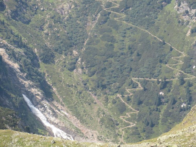 Mairspitze: Waterfall and approach path below Sulzenau Hut - © Will Mackesy