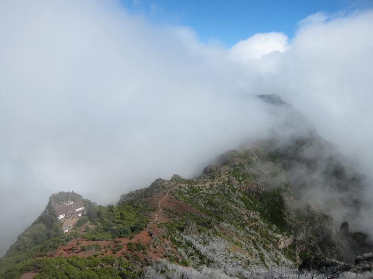 Pico Ruivo from Achado do Texeira: Resthouse on ridge north of Ruivo - © William Mackesy