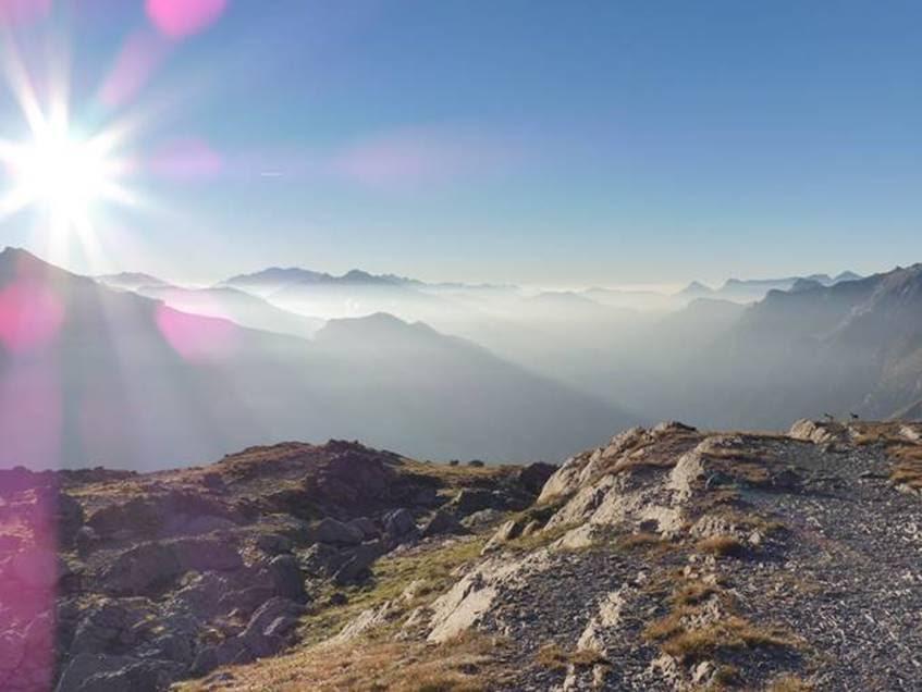 Spain Pyrenees, Pineta Valley, Isards (right) enjoying the early morning view from Balcon de Pineta, Walkopedia