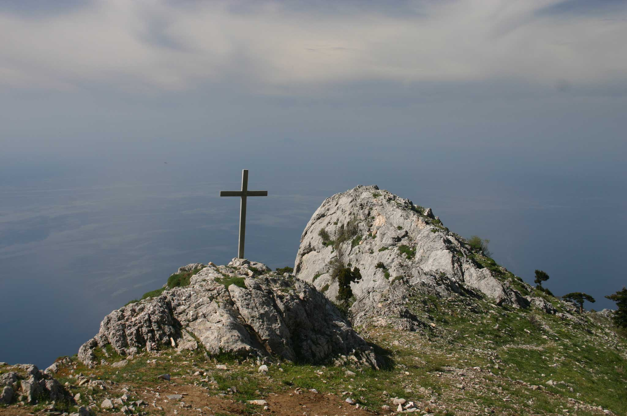 Mount Athos: Mt Athos - ? From Panaghias - © William Mackesy