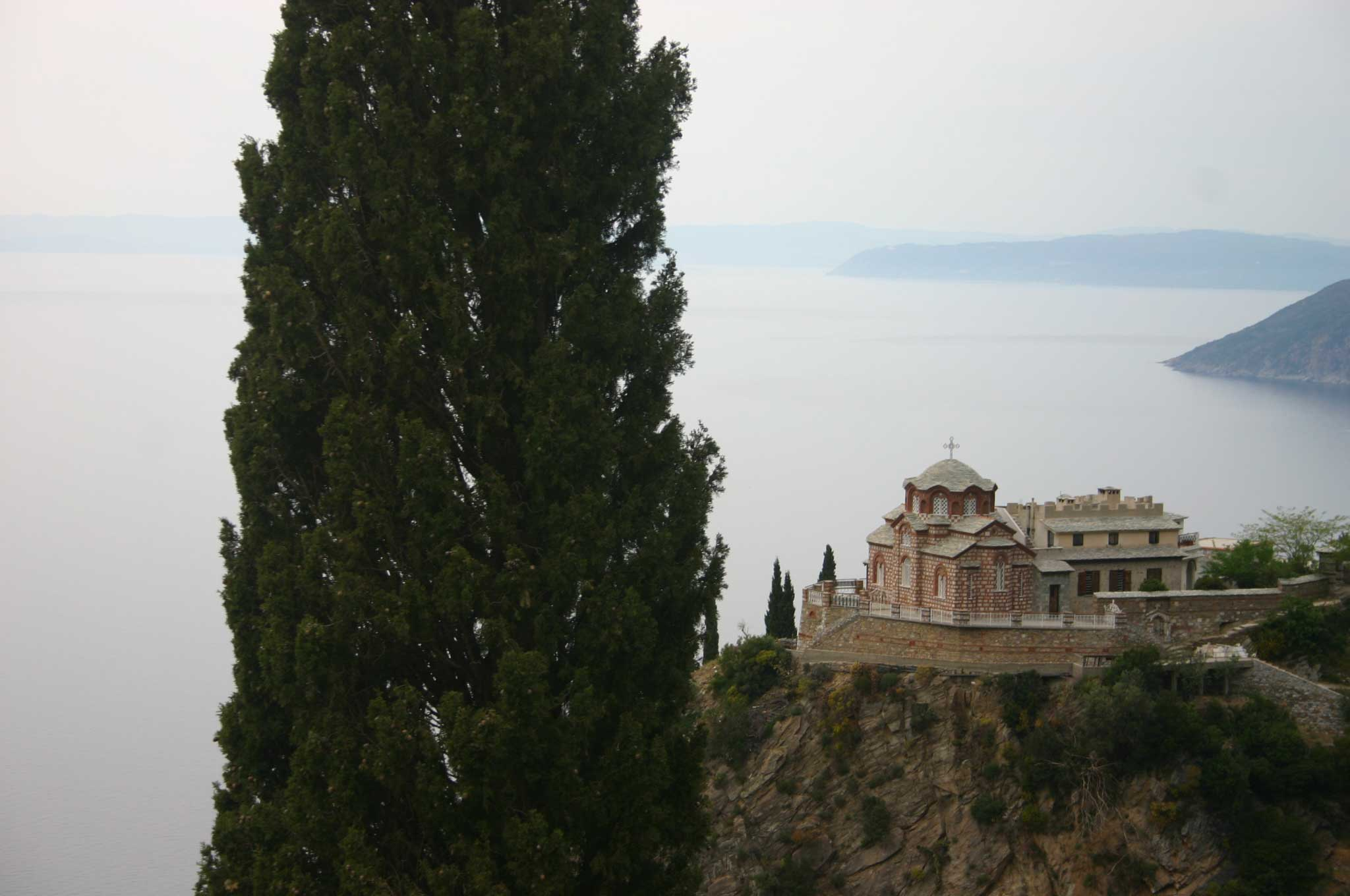 Mount Athos: Mt Athos - ? From Agia Anna - © William Mackesy