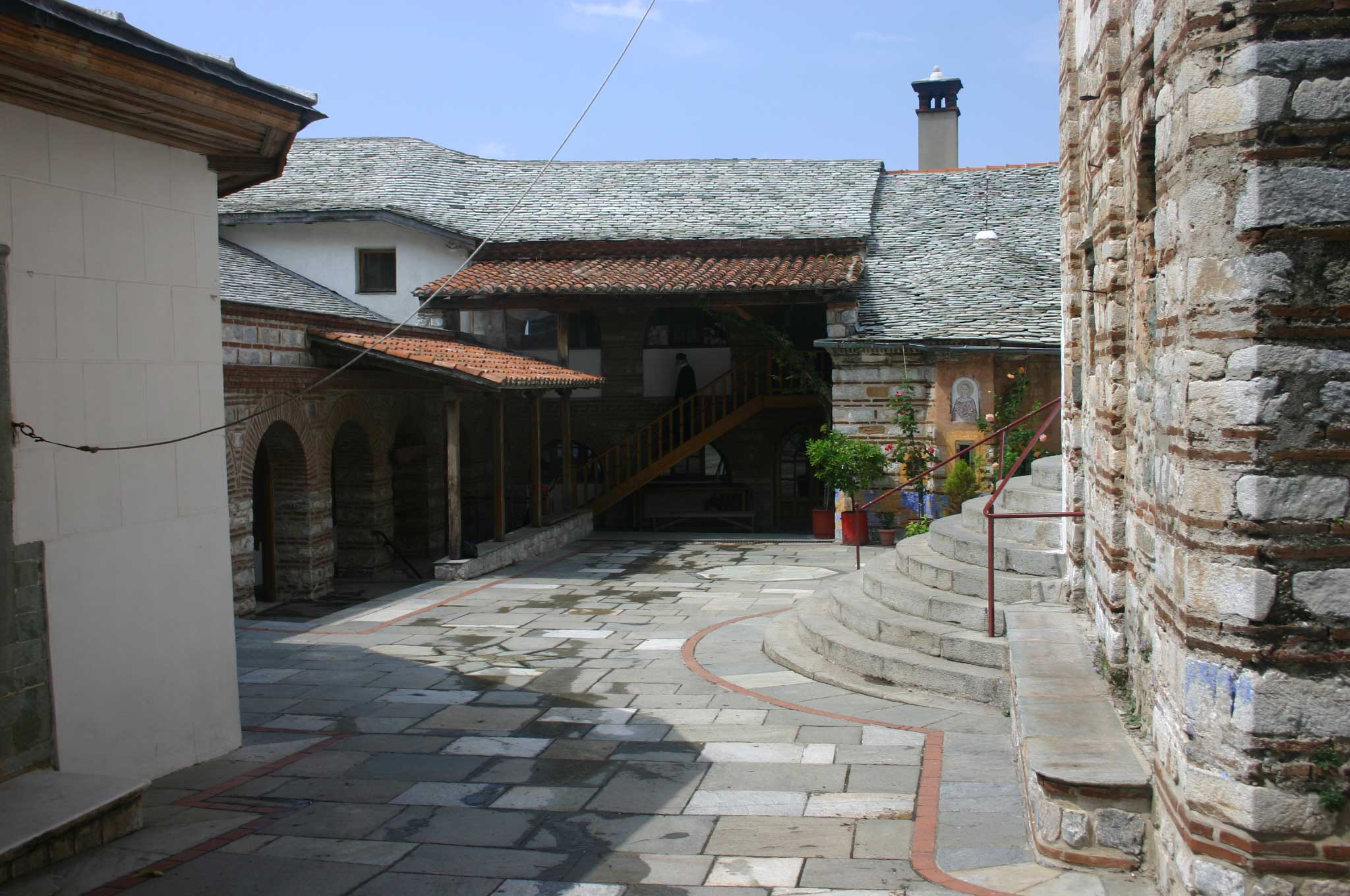 Mount Athos: Mt Athos - Grigoriou Courtyard - © William Mackesy