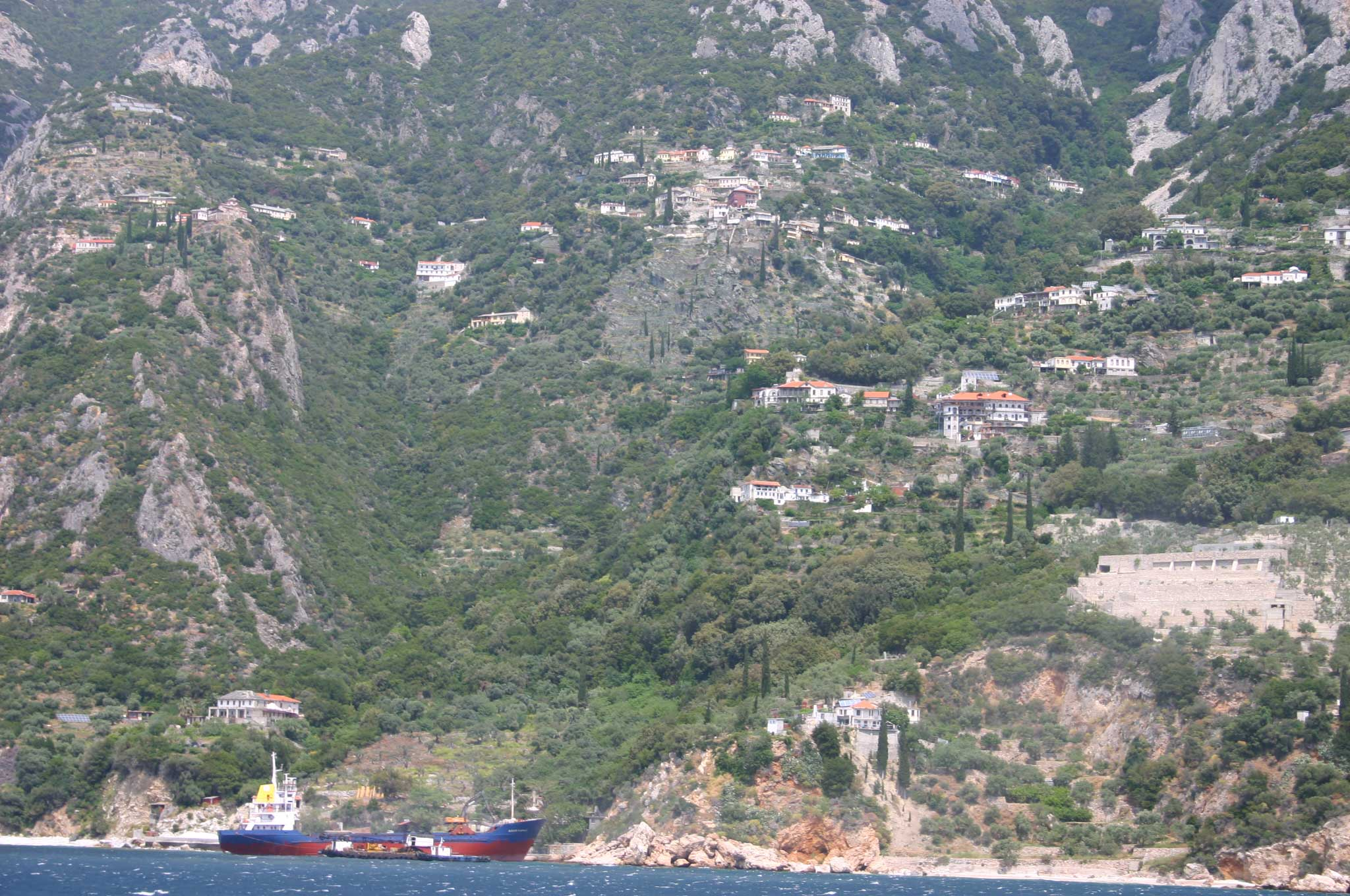 Mount Athos: Mt Athos - South Coast From the Ferry - © William Mackesy