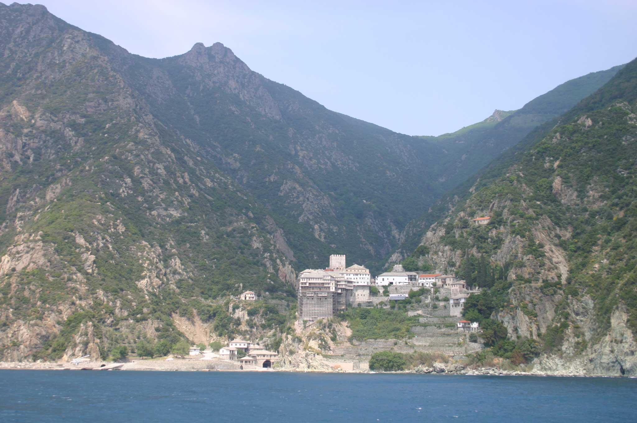 Mount Athos: Mt Athos - Dionysiou From the Ferry - © William Mackesy