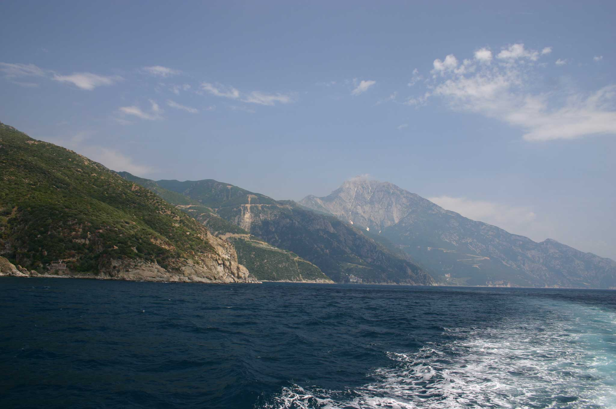 Mt Athos - Back to Athos, From the ferry - © William Mackesy