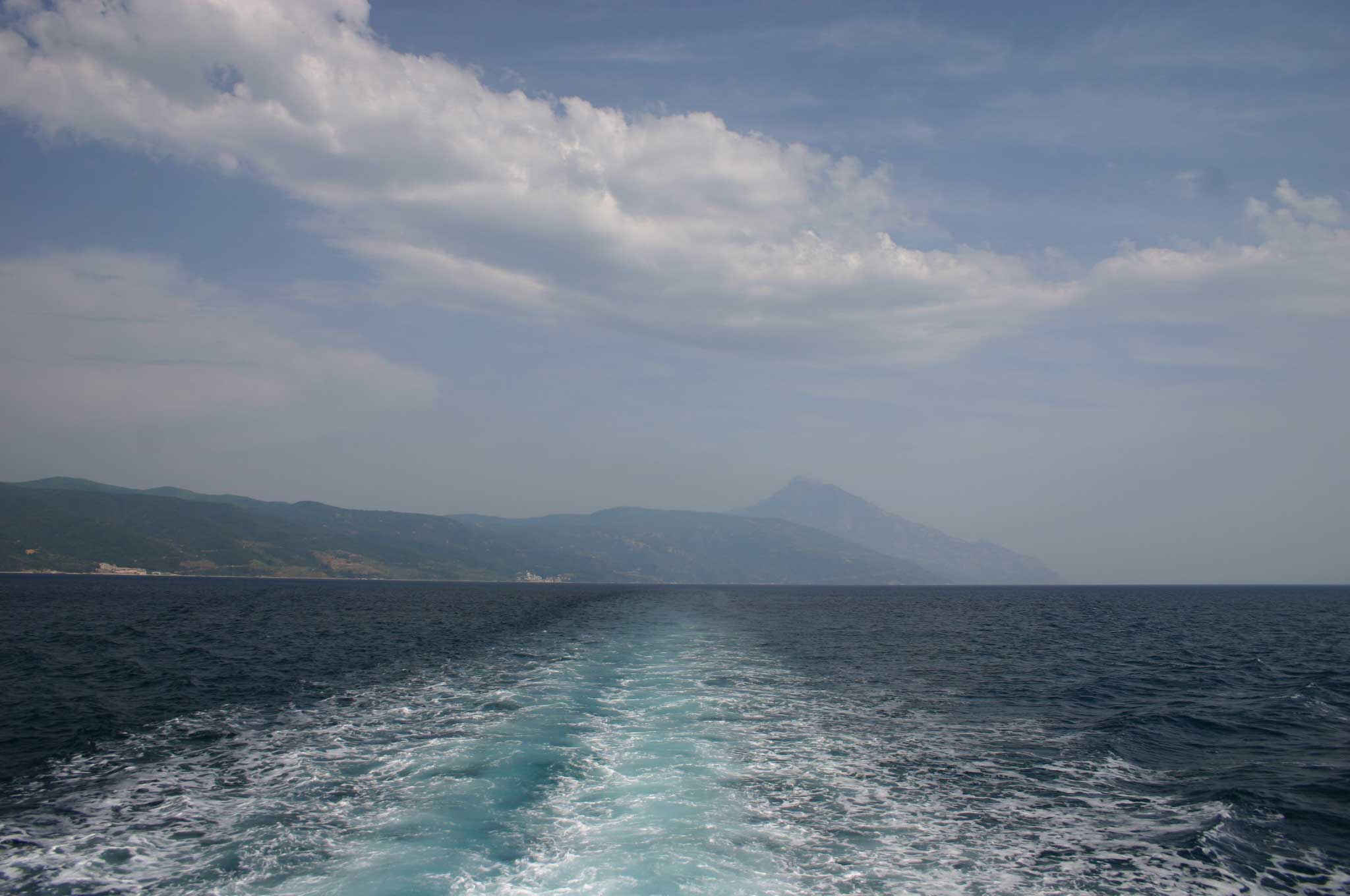 Mount Athos: Mt Athos - Back to Athos, From the ferry - © William Mackesy