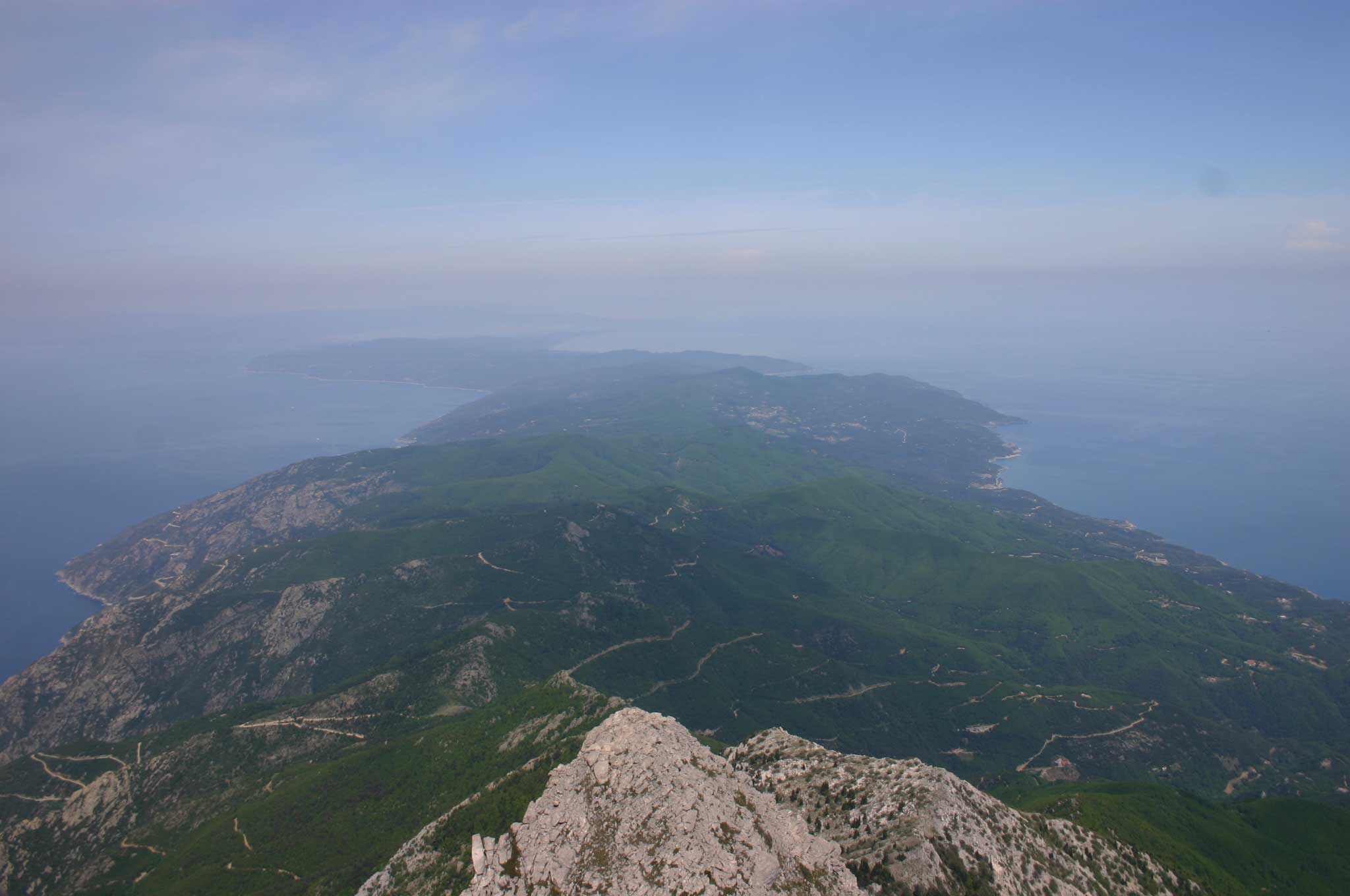 Mount Athos: Mt Athos - Along the Peninsula From Mt Athos - © William Mackesy