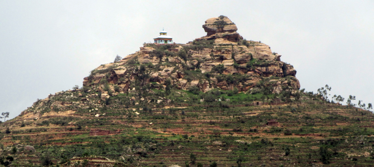 Tigray Rock Churches: Modern Church built on hill Tigray Ethiopia - © flickr user amanderson2