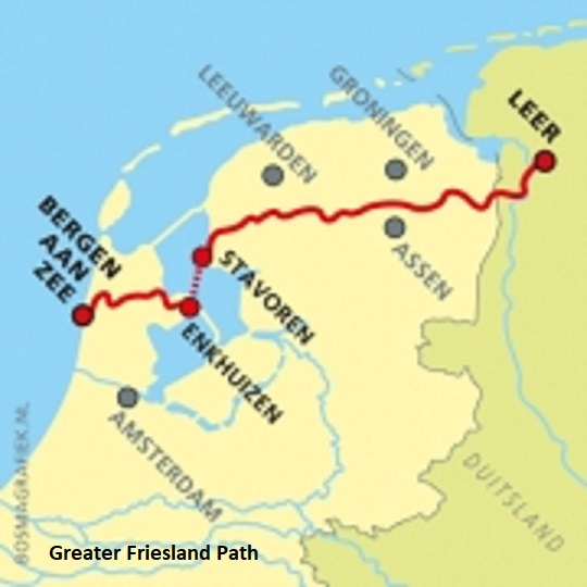 Overzichtskaartje Groot-Frieslandpad met naam - © Marjin Bosma
