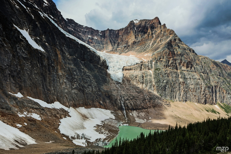 Cavell Meadows and Path of Glacier Trail: Angel Glacier from Cavell Meadows Trail - © Flickr user mzagerp