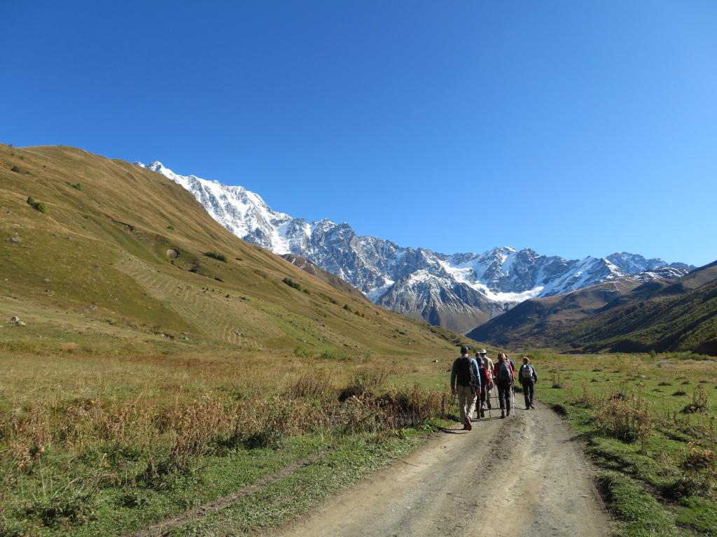 Upper Engeri valley, Mt Shkhara to left - © William Mackesy