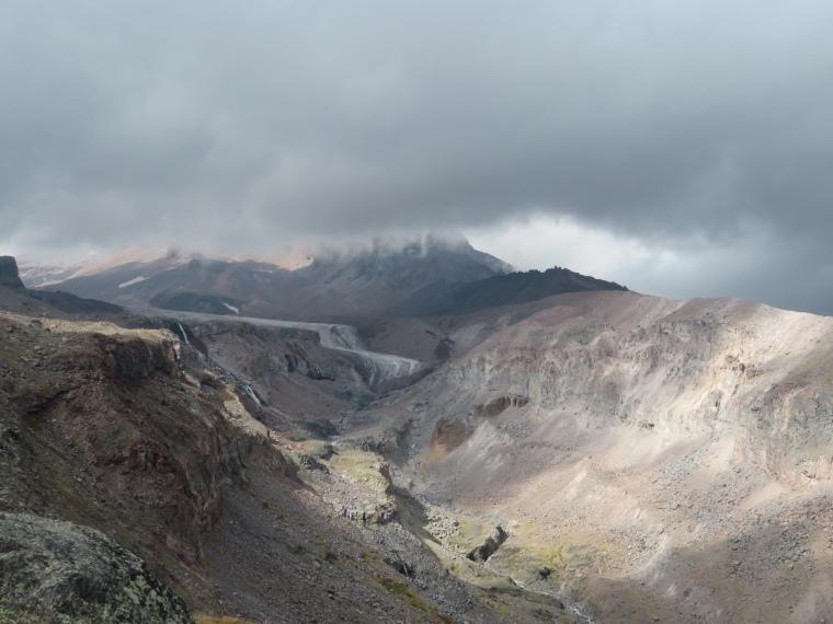 Khevi, Kazbegi and the Military Highway : Gergeti - Kazbek - gorge and glacier - © William Mackesy