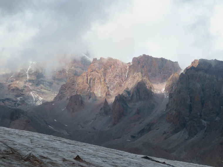 Khevi, Kazbegi and the Military Highway : Gergeti walk - Kazbek, former volcano, and glacier - © William Mackesy