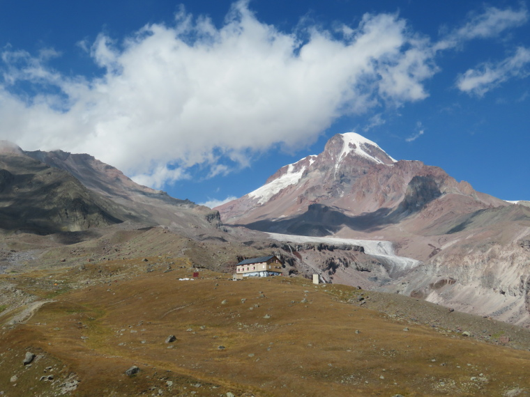 Khevi, Kazbegi and the Military Highway : Refuge, Gergeti glacier and Mt Kazbek - © William Mackesy