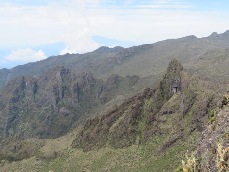 Tanzania Mount Kilimanjaro, Shira Cathedral, Meru in distance from Shira Cathedral, Walkopedia