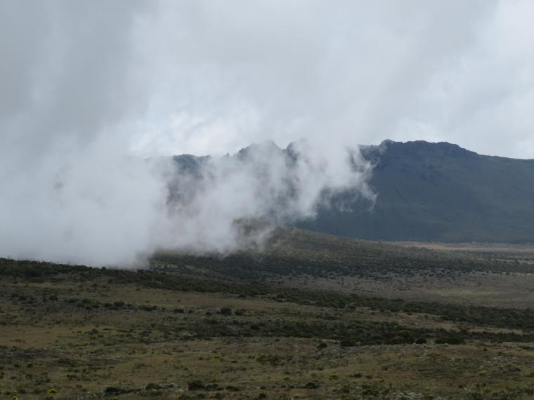 Tanzania Mount Kilimanjaro, Shira Cathedral, Cloud coming over plateau edge, Walkopedia