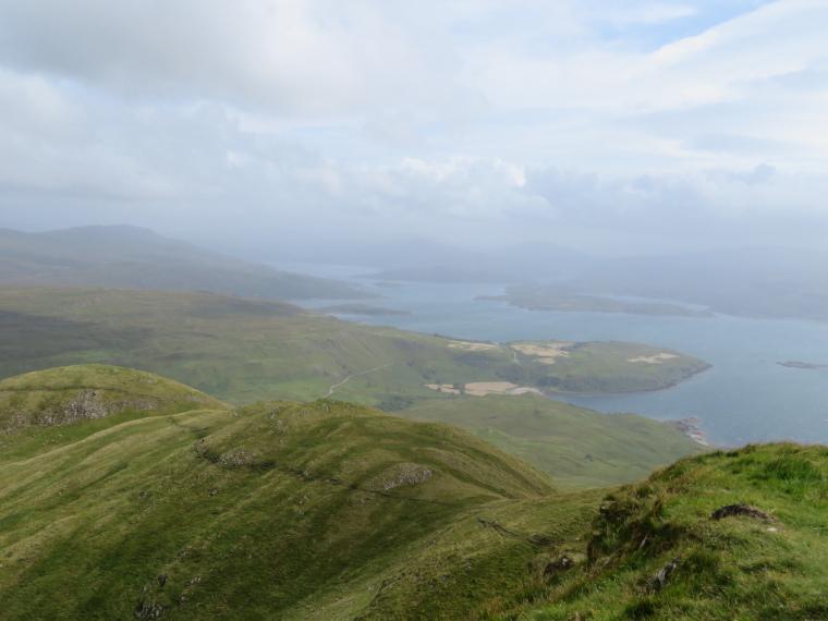 Ben Hiant: Ridge from summit, Loch Sunart behind