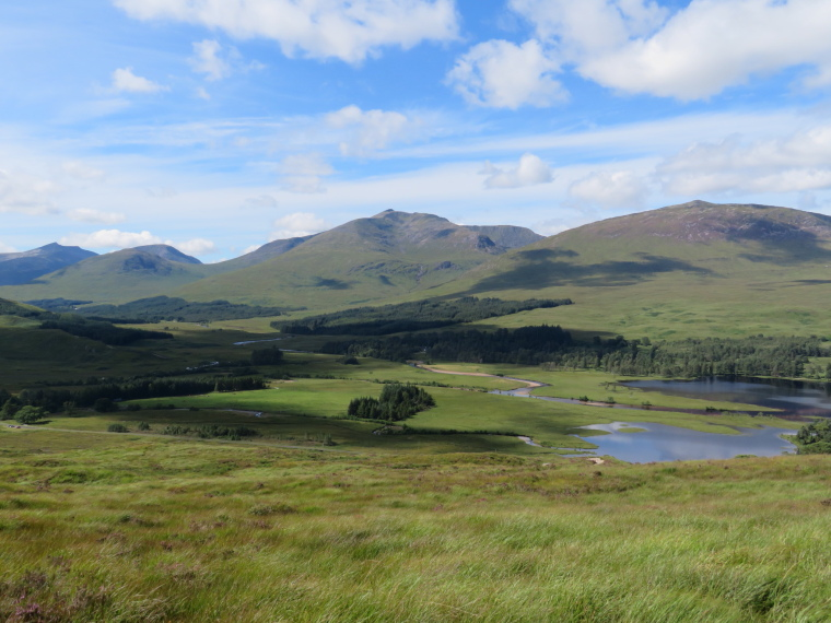 United Kingdom Scotland SW Highlands, Bridge of Orchy to Kingshouse, Rannoch Moor, Valley above Loch Tulla from first hill, Walkopedia