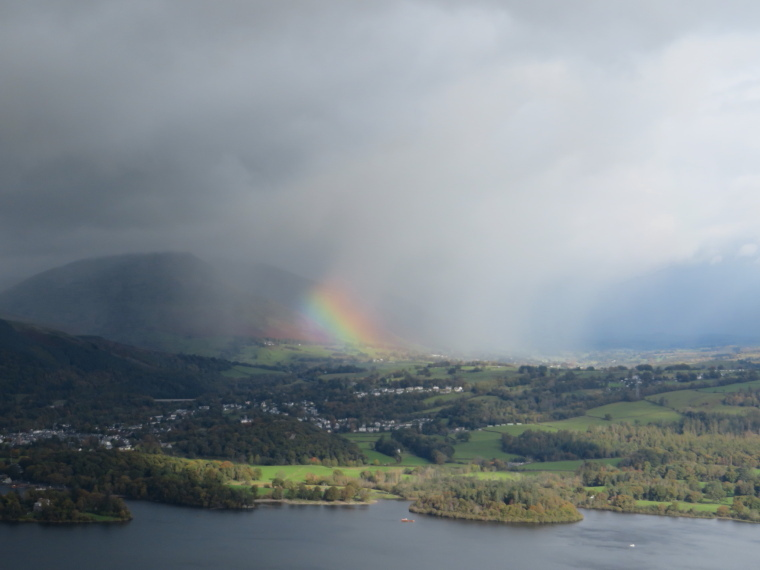 United Kingdom England Lake District, The Lake District, Rainbow effect over Derwent Water from Catbells, Walkopedia