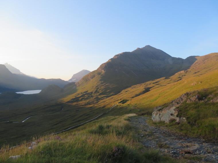 United Kingdom Scotland Isles Skye, Glen Sligachan, North towards Glen Sligachan from above Camasunary, late light, Walkopedia