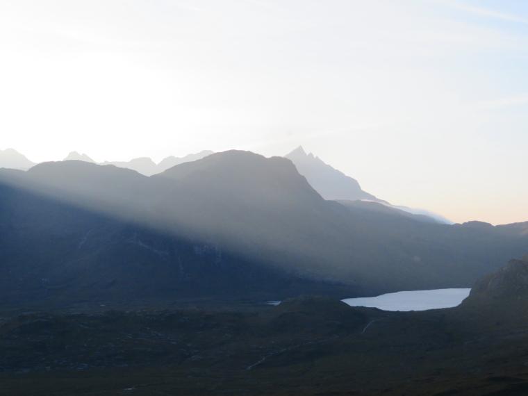 United Kingdom Scotland Isles Skye, Glen Sligachan, Up lower Glen Sligachan from above Camasunary, late light, Walkopedia