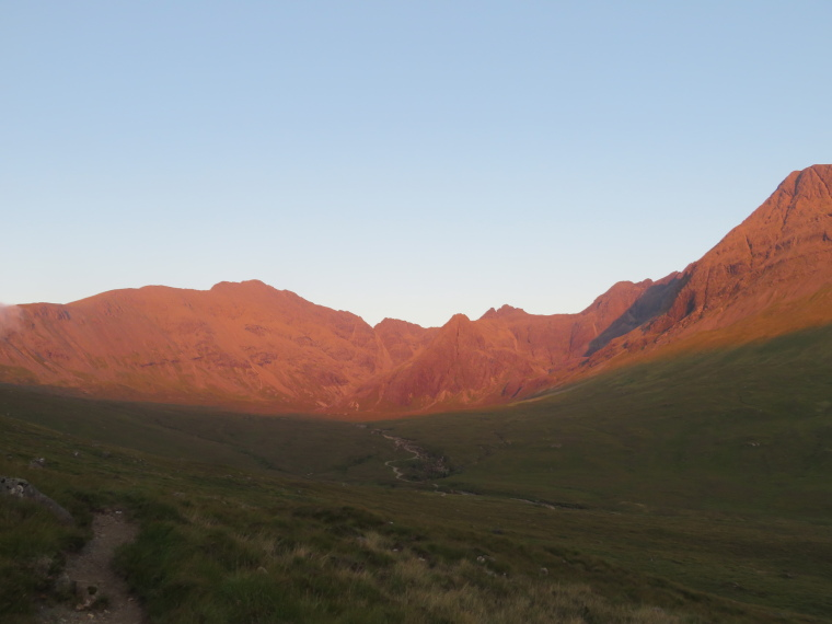 Bruach na Frithe: Coire na Creiche, evening light, Black Cuillin red - © William Mackesy