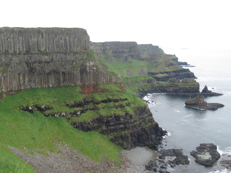 United Kingdom Northern Ireland Causeway Coast, Causeway Coast Way,  Incredible basalt column layers, Walkopedia