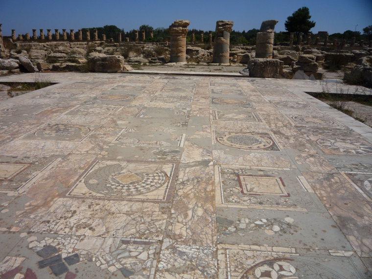 Libya, Cyrene, Mosaic Floors at seaside Cyrene, Walkopedia