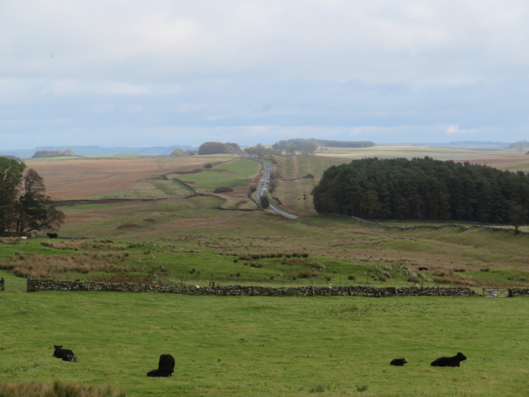 United Kingdom England Hadrian's Wall, Sewingshields to Cawfields,  Looking east from Sewingshields base, Walkopedia