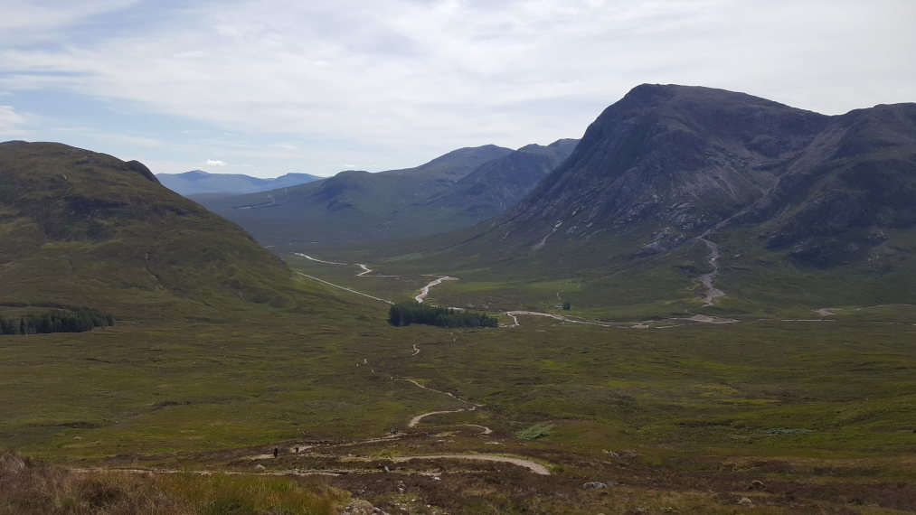 "Kingshouse to Kinlochleven: Towards Glen Etvie and Rannoch Moor  from Devil""s Staircase - © William Mackesy"