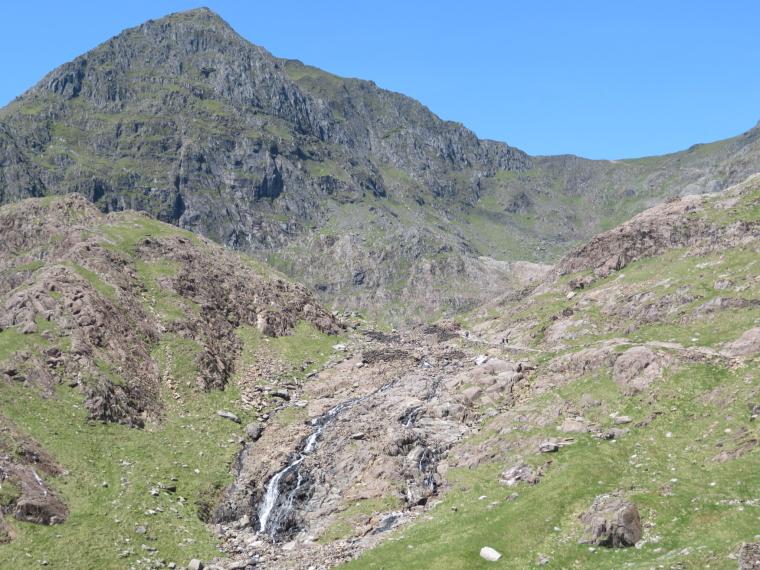 United Kingdom Wales Snowdonia, Miners, Pyg Tracks , Snowdon shoulder with Miners and Pyg reaching it, Walkopedia