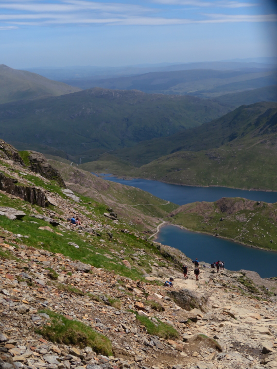 United Kingdom Wales Snowdonia, Miners, Pyg Tracks , From near shoulder, down Miners and Pyg, Walkopedia