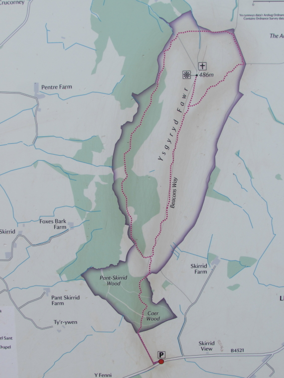 United Kingdom Wales Black Mountains, Skirrid Fawr, Map of Skirrid Fawr, Walkopedia