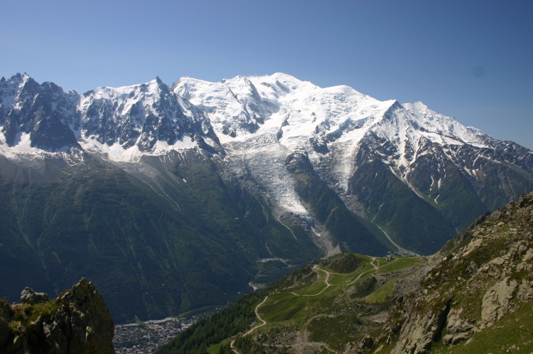 Mt Blanc From Aiguilles Rouges, across Chamonix valley - © William Mackesy