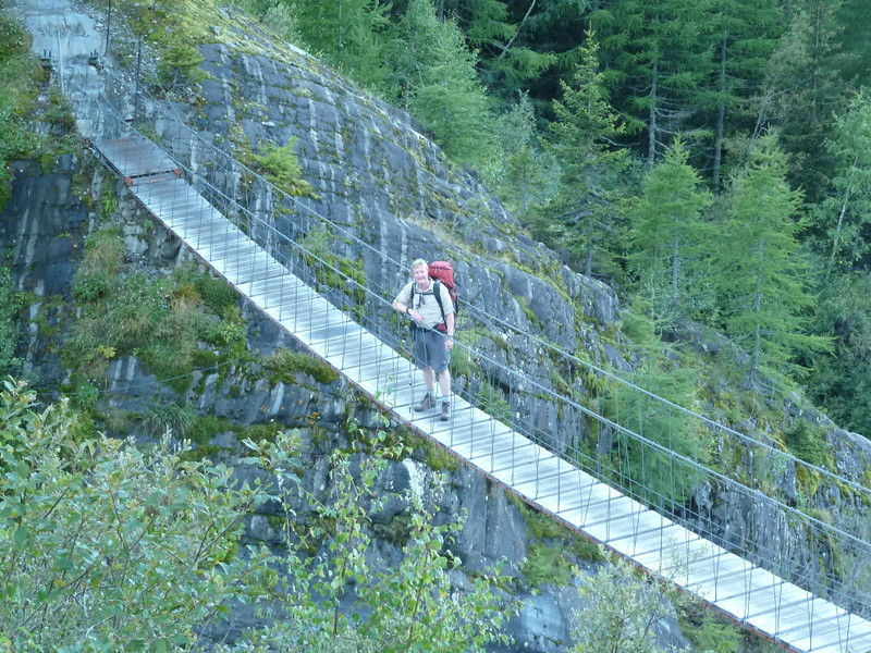Suspension bridge on climb to Col de Trichot - © Dick Everard
