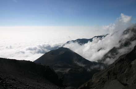 Mt Meru - Down onto the Ash cone - © William Mackesy