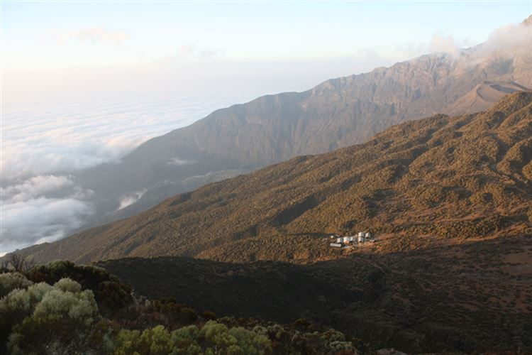 Mt Meru: Second Camp seen from Little Meru Peak - © Hugo Macklin