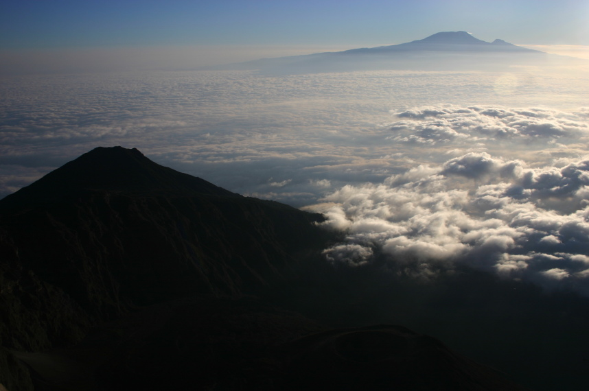 Mt Meru: Kili at dawn from Meru summit - © William Mackesy